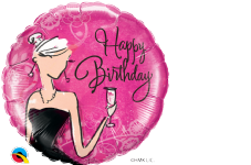 Pink 'Happy Birthday' Black Dress Foil Balloon